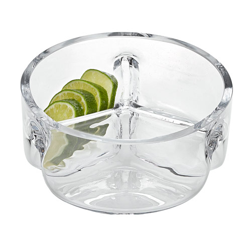 "$39.00 Trista European Mouth Blown Lead Free Crystal 3 Section  Server D6.25"" -Trista"