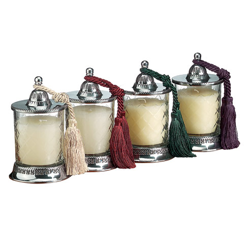 "$89.00 Covered 6.5"" Candle Jars with Vanilla Scent Candle- 4 Pc Set with Assorted Tassels"
