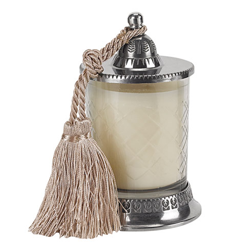 "$24.00 Hand cut 6.5"" Candle Jar with Vanilla Scented Candle and Silk Knotted Tassel"