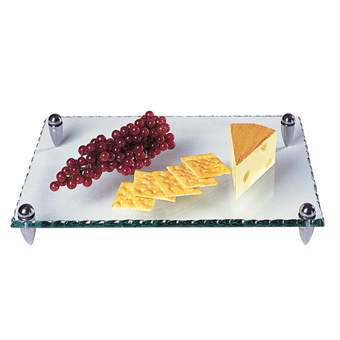 "$45.00 Mercury Rectangle Glass  Tray 14 x 9""  with Hammered Edge"