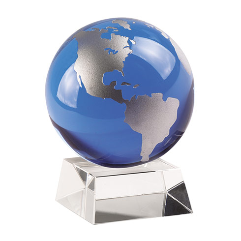 "$64.95 Cobalt Blue And Silver Globe On Crystal Base 4.5"" Tall"
