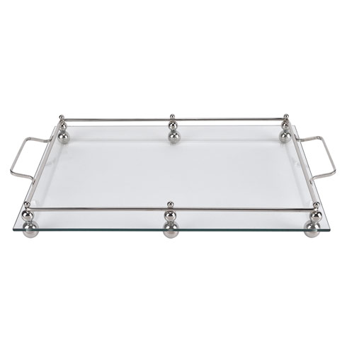 $79.00 Serving Tray with Chrome Border 18x12""