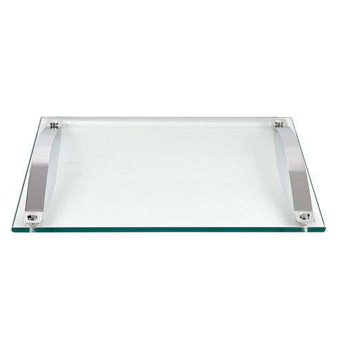 $79.00 Contempo Glass Serving Tray with Chrome Handles