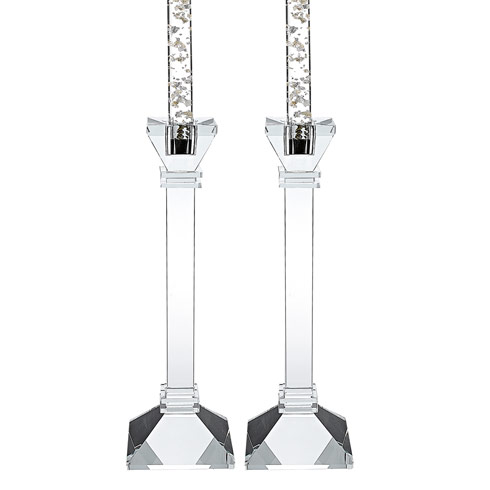 "$79.95 Charleston Square Pair 10"" Classic Crystal Candle Holders"