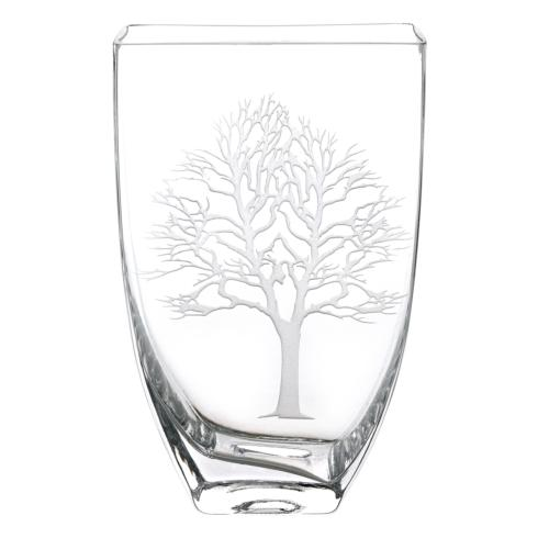 """Tree of Life European Mouth Blown Lead Free Crystal Vase 8"""" Tall"""