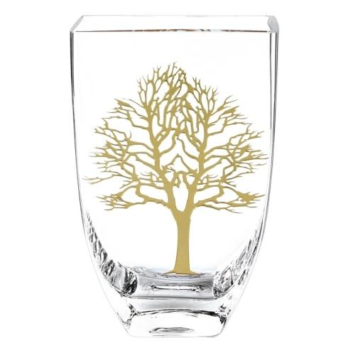 "$89.00 Gold Tree Of Life Mouth Blown European Lead Free Crystal Vase 8"" Tall"