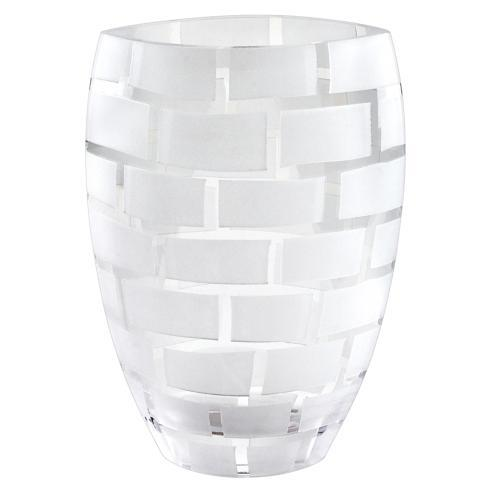 "Frosted Wall Design on Mouth Blown European 12"" Crystal Vase"