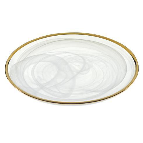 "$39.00 4 Pcs set of White Alabaster plates with Gold Rim 6.75"" Diameter"