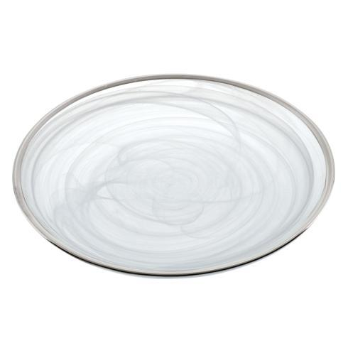 "$9.95 5 Pcs set of White Alabaster plates with Silver Rim 6.75"" Diameter"