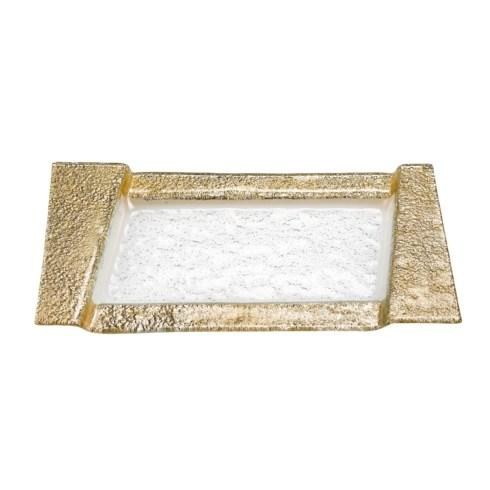 "$39.95 Rimini Gold 7x13"" Hand Crafted Glass Snack or Vanity Tray"