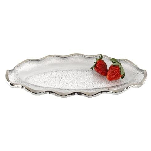 "$49.95 Silver Edge Wavy Oval Hand Painted Mouth Blown Glass 14 x 7"" Platter"