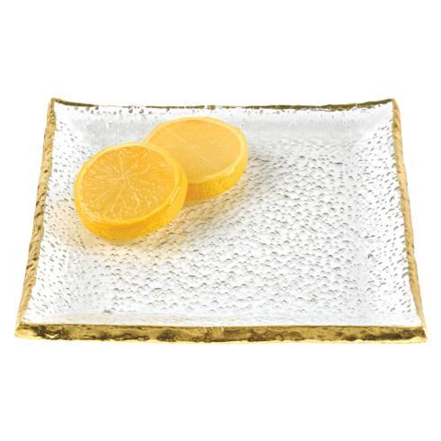 "Badash  Goldedge & Silveredge Serve Ware Set of 4 Gold Edge Handcrafted Glass 5"" Square Plates $69.95"