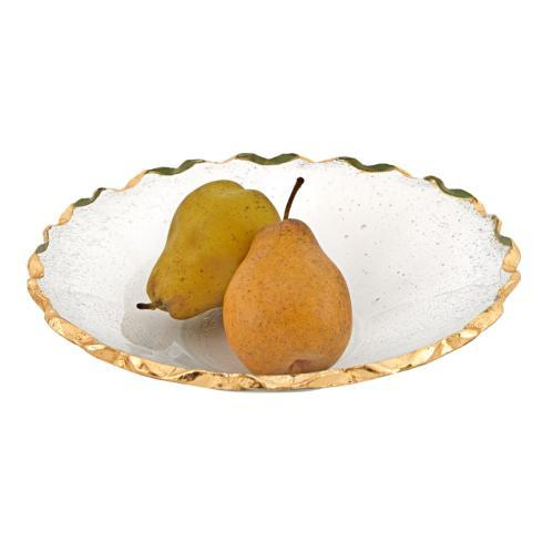 "$54.95 Hand Decorated Gold Leaf Chiseled Edge 11"" Straight Sided Glass Salad or Fruit Bowl"