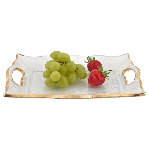 "$49.95 Hand Decorated Gold Leaf Scalloped Edge 7 x 11"" Vanity or Snack Tray With Cut Out Handles"