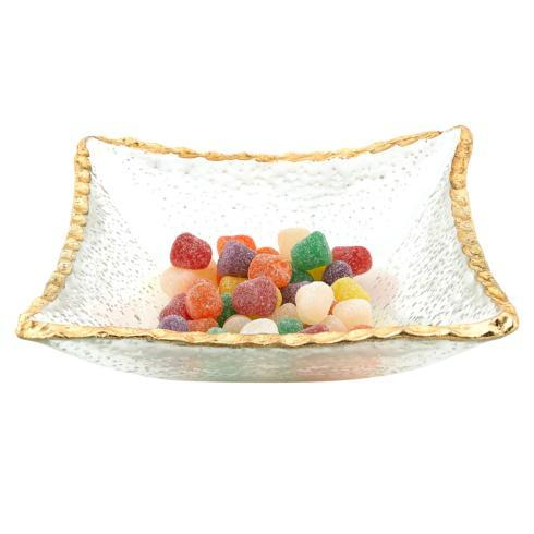 "Badash  Goldedge & Silveredge Hand Decorated Gold Leaf Edge 7"" Square Glass Candy or Serving Bowl $39.95"