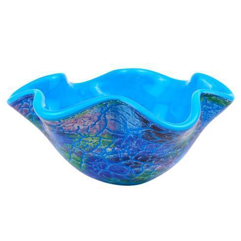 """$79.00 Cool Murano Style Art Glass Firestorm Bowl 9"""" D X 4"""" H"""