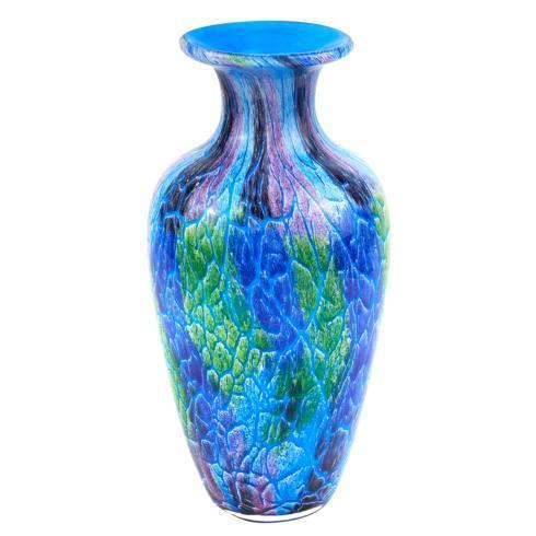 "$79.00 Cool Murano Style Art Glass Firestorm Vase 10"" H"