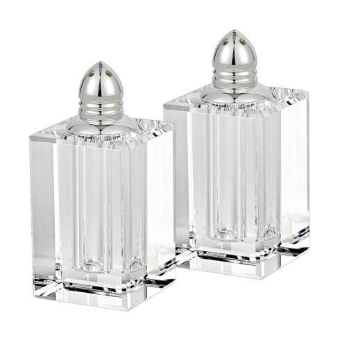 $54.95 Platinum Hand Made Lead Free Crystal Pair of Salt & Pepper Shakers H3.5""