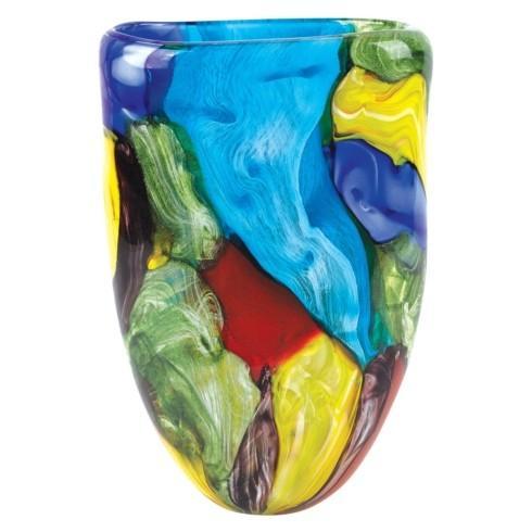 "Stormy Rainbow Murano Style Art Glass 11"" Oval Vase"