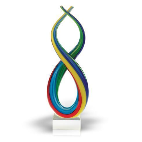 $65.00 Spectrum Murano Style Blown Art Glass Rainbow Centerpiece on Base H 11 in.