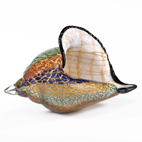 $79.00 Murano Style Artistic Glass Large Conch Shell L 8 x H 5""