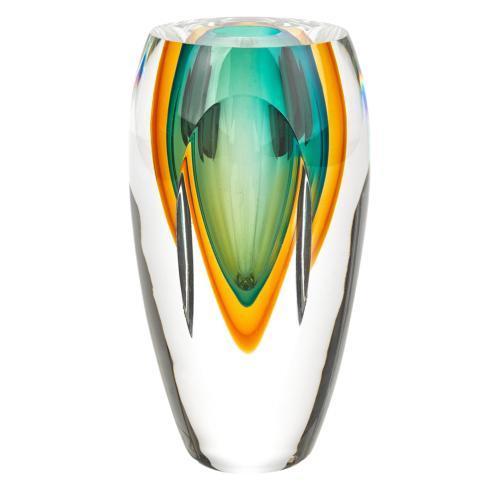 """$99.95 Rimini Murano Style Art Glass Amber & Green 8"""" Vase"""