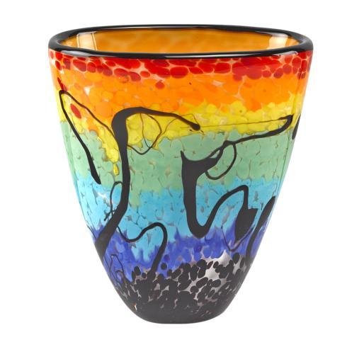 "$79.00 Allura  Murano Style Art Glass 8"" Oval Vase"