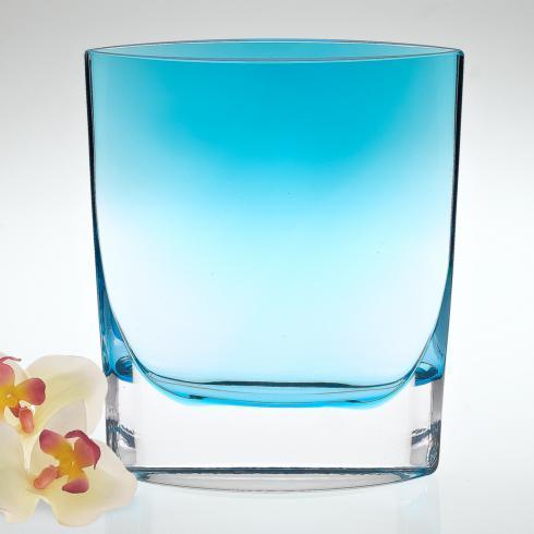 """Samantha European Mouth Blown Aqua Blue Vase 8"""""""
