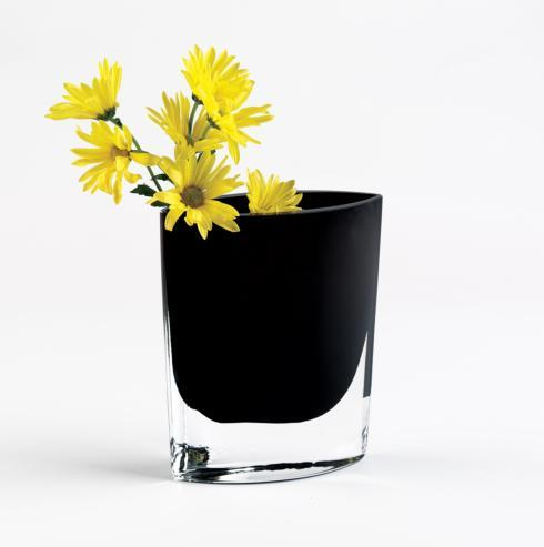 "$89.95 Samantha European Mouth Blown Lead Free Crystal 8"" Jet Black Vase"