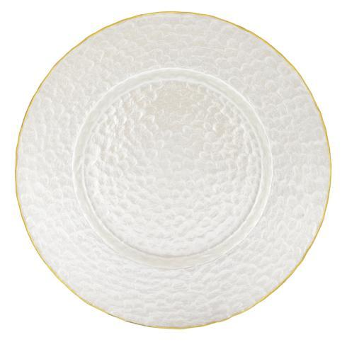 """$35.00 White Pearl Charger With Gold Rim 13"""""""