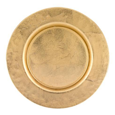 "$45.00 Glamour Gold 13"" Handmade Glass Charger with Gold Rim Finish"