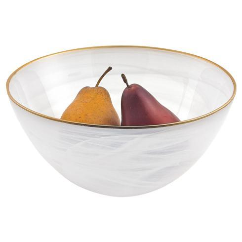 "$29.95 White Alabaster 10"" Glass Bowl With Gold Rim"