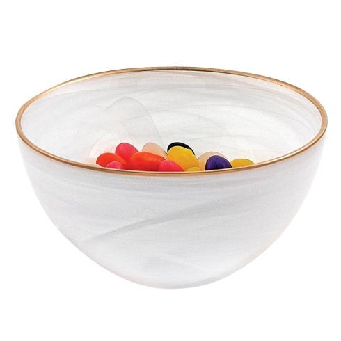 "$16.95 White Alabaster 6"" Glass Bowl With Gold Rim"