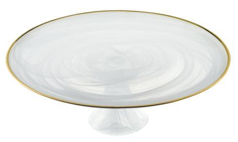 "$49.00 White Alabaster 13"" Footed Glass Cakestand With Gold Rim"