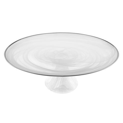 "$39.95 White Alabaster 13"" Footed Glass Cakestand With Silver Rim"