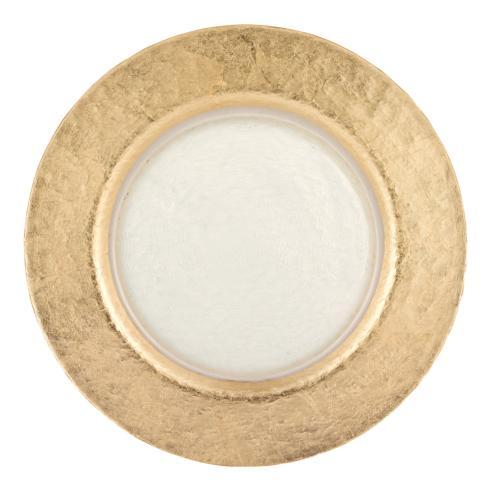 "Badash  Serveware Authentic Gold Leaf Round 13"" Glass Charger Plate $39.00"
