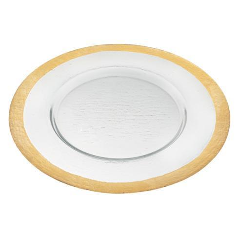 "$39.95 Gold Border Round 13 "" Glass Charger Plate"