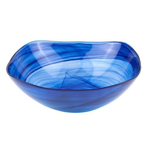 """$24.95 Cobalt Blue Alabaster Glass 10"""" Squarish Salad or Serving Bowl"""
