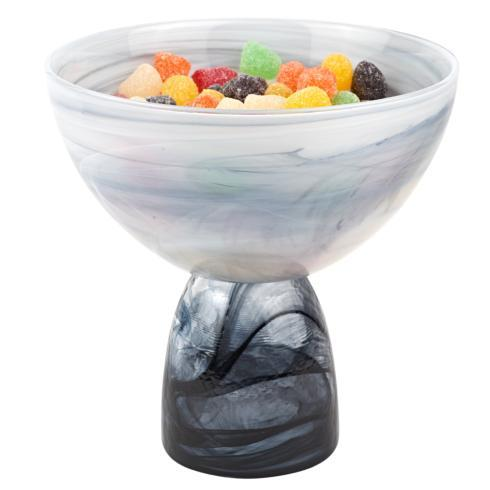$39.00 Black & White Alabaster Pedestal Bowl   H6.5X6.25