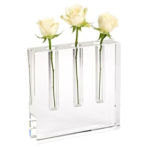 "$99.75 Triple Play Handcrafted  Square 7"" Optical  Crystal Bud Vase"