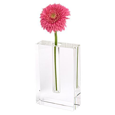 "$54.95 Rita Handcrafted  Rectangle 6"" Optical  Crystal Bud Vase"