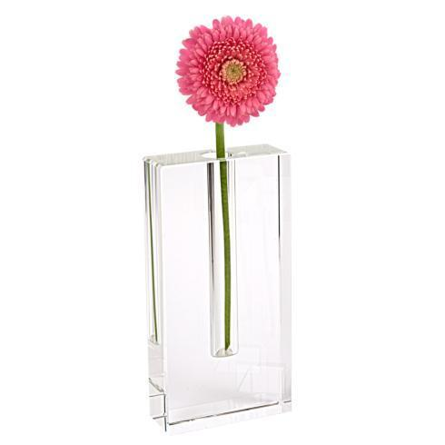"$59.95 Rita Handcrafted  Rectangle 8"" Optical  Crystal Bud Vase"