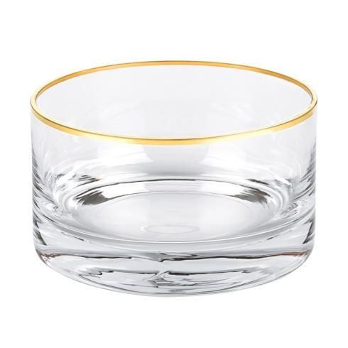 "$29.90 Manhattan Gold Rim 5.5"" x H3"" Mouth Blown Lead Free Crystal Bowl"