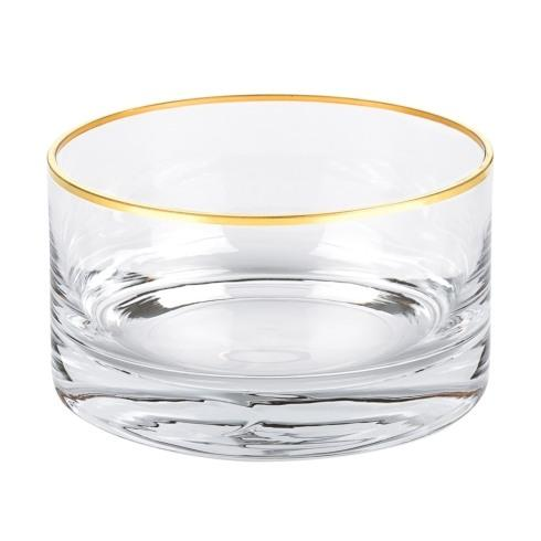 "$24.95 Manhattan Gold Rim 5.5"" x H3"" Mouth Blown Lead Free Crystal Bowl"