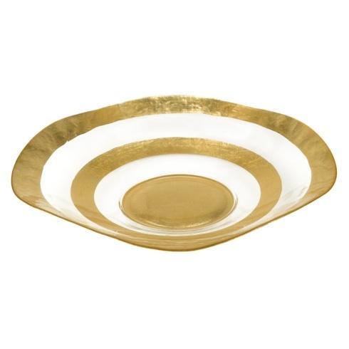 Badash  Glass Metallica Round Gold Leaf Wave Bowl 19