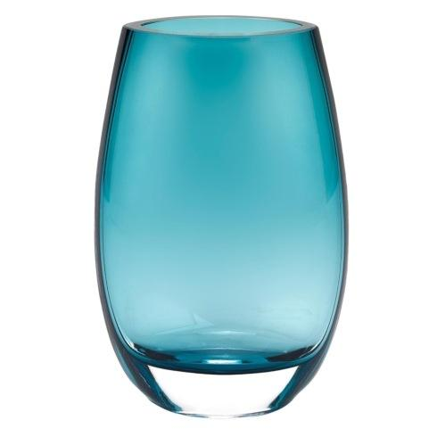 $79.95 Crescendo Peacock Blue  European Mouth Blown Oval Thick Walled7.5 in Vase