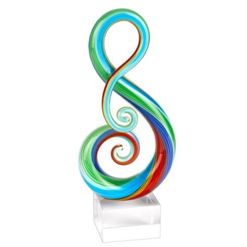 $74.95 Rainbow Murano Style Art Glass Clef Centerpiece on Crystal Base 11""