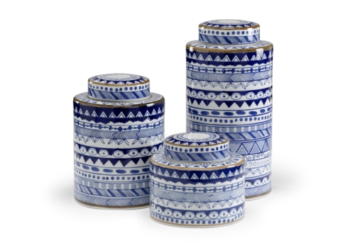 Barbara Stewart Exclusives   BLUE & WHITE CANISTER LARGE $135.00