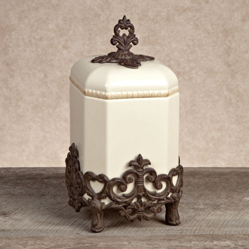 """$125.00 CANISTER w/ metal base-14""""h"""