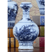 Barbara Stewart Exclusives   BLUE & WHITE PORCELAIN VASE $35.00